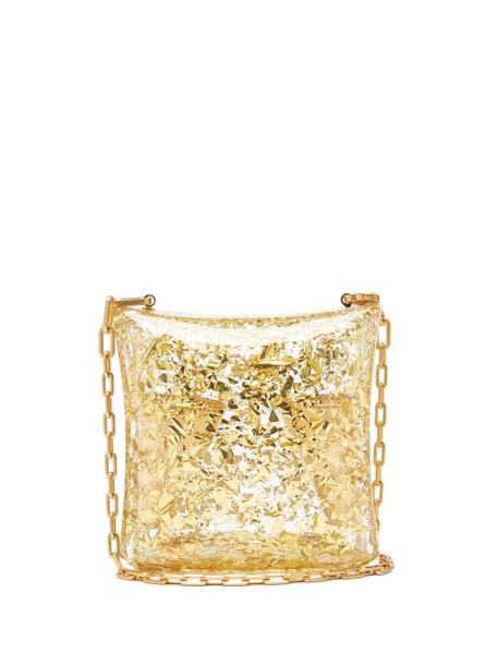 Bottega Veneta - Metallic-leaf Plexiglass Chain-strap Clutch - Womens - Gold