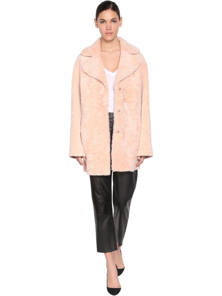 DROME Reversible Shearling Coat in pink