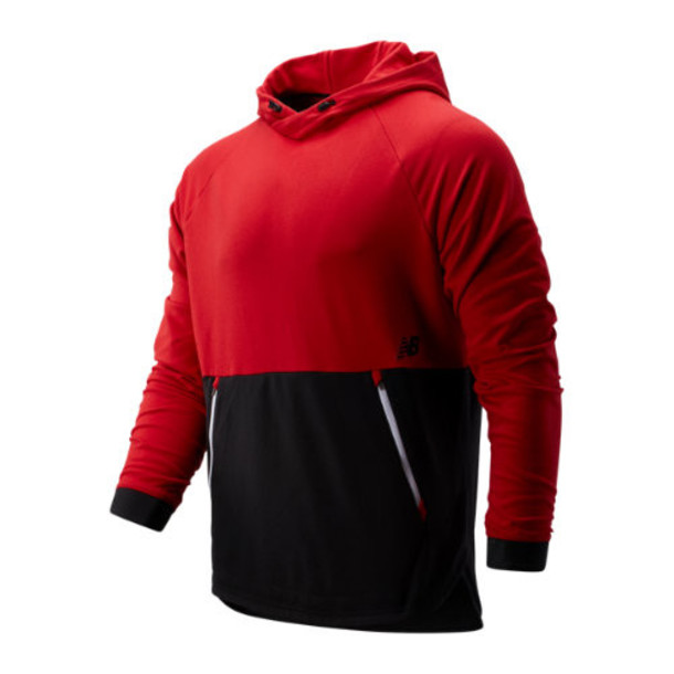 New Balance 93047 Men's R.W.T. Long Sleeve Pullover Hoodie - Red/Black (MT93047REP)