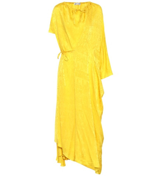 Balenciaga Silk-jacquard dress in yellow