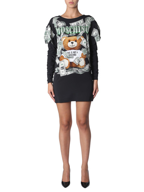 Moschino Dollar Teddy Bear Dress in nero