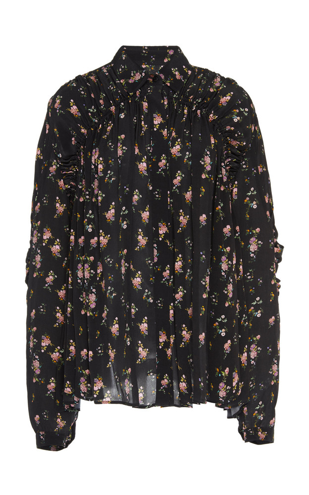 Preen Line Winni Ruffled Floral-Print Crepe De Chine Top Size: XS in black