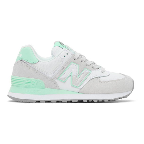 New Balance Grey and Green 574 Sneakers