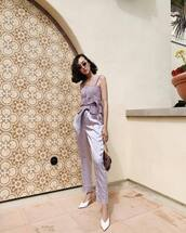 shoes,mules,stuart weitzman,lilac,high waisted pants,straight pants,silk,tank top,bag