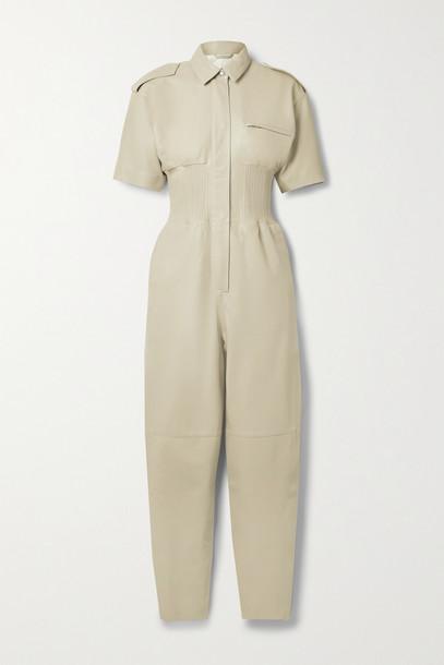 REMAIN BIRGER CHRISTENSEN - Marianne Shirred Leather Jumpsuit - Neutrals