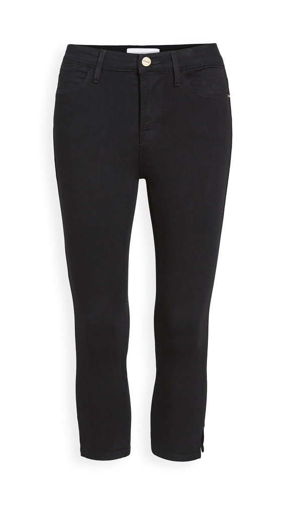 FRAME Le High Pedal Pusher Jeans in noir