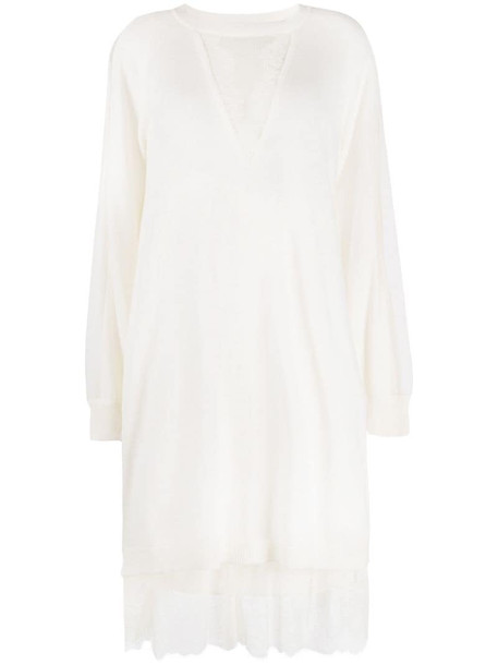 Twin-Set lace-insert knitted dress in white
