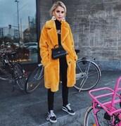 coat,faux fur coat,black sneakers,vans,black skinny jeans,turtleneck sweater,black sweater,black bag