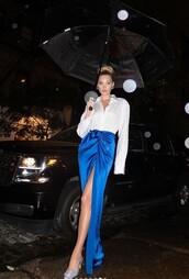 skirt,maxi skirt,blue,elsa hosk,model off-duty,white,white shirt,instagram,wrap skirt