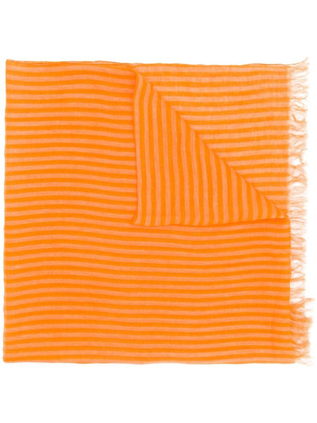 Issey Miyake Pre-Owned 1990's striped frayed scarf in orange