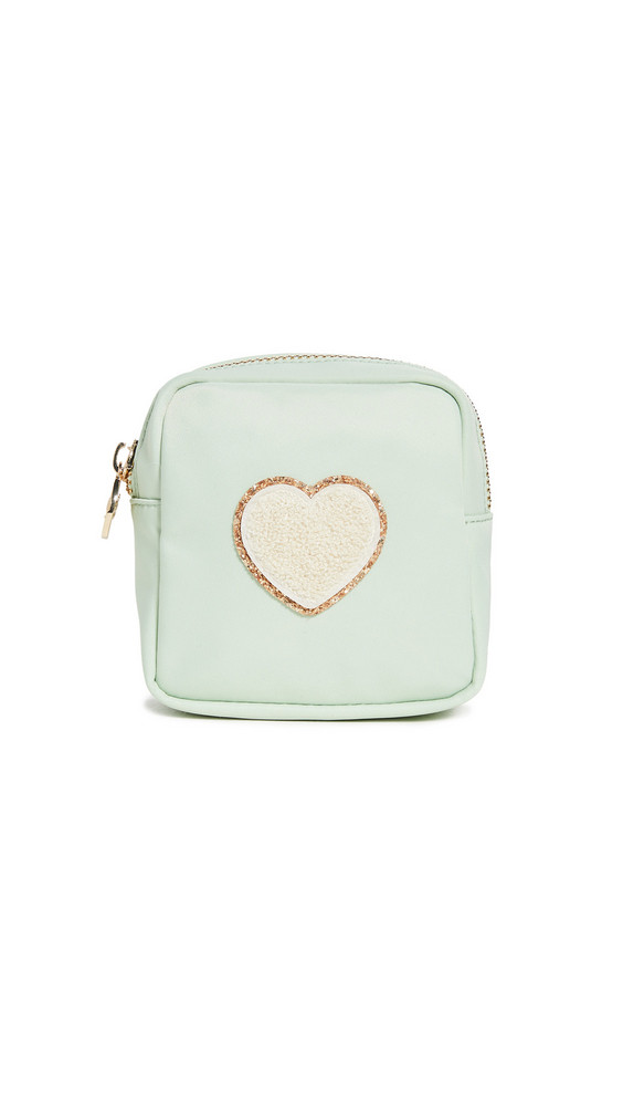 Stoney Clover Lane Mini Nylon Pouch with Glitter Heart Patch in cream