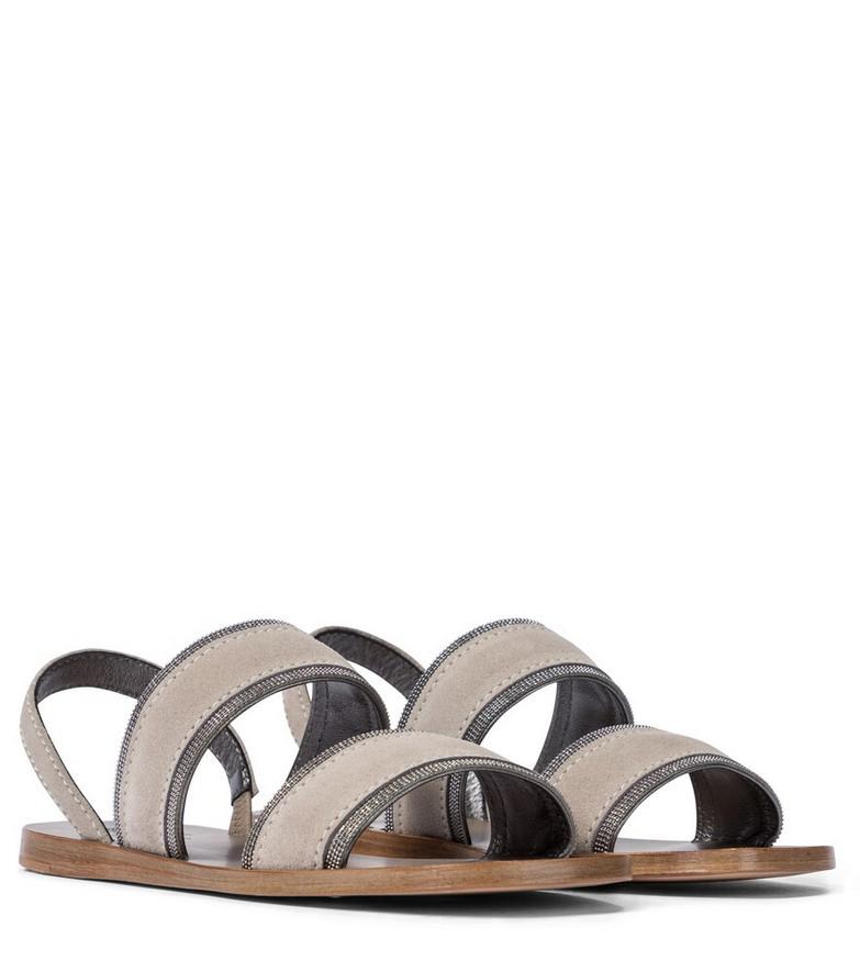 Brunello Cucinelli Embellished suede sandals in grey