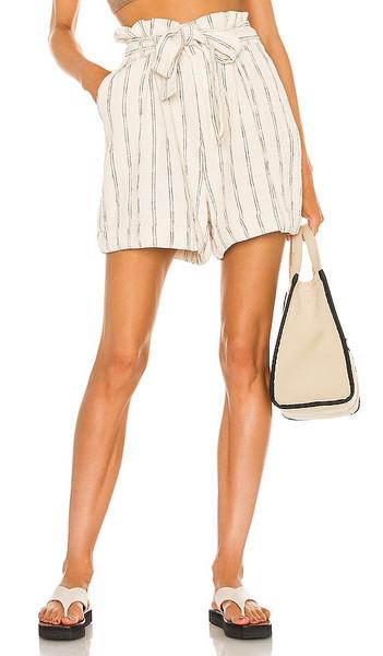 Bardot Stripe Short in White,Black in ecru