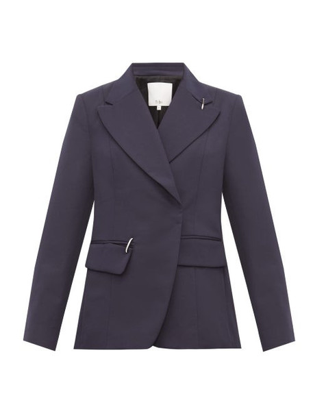 Tibi - Single Breasted Crepe Jacket - Womens - Navy