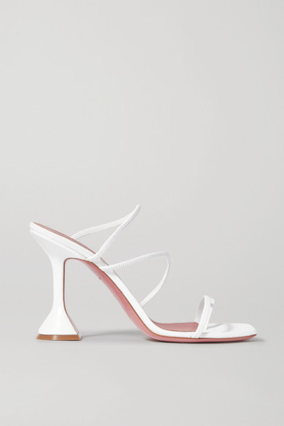 Amina Muaddi - Naima Leather Sandals - White