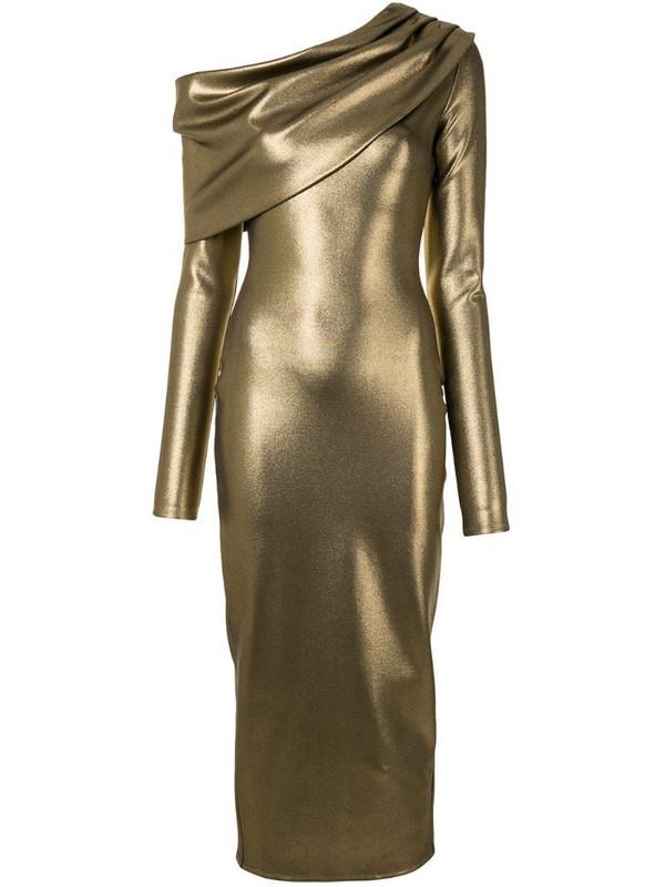 LAPOINTE metallic-effect cowl neck dress