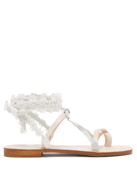 Álvaro Álvaro - Tanna Floral-lace Wraparound Leather Sandals - Womens - White