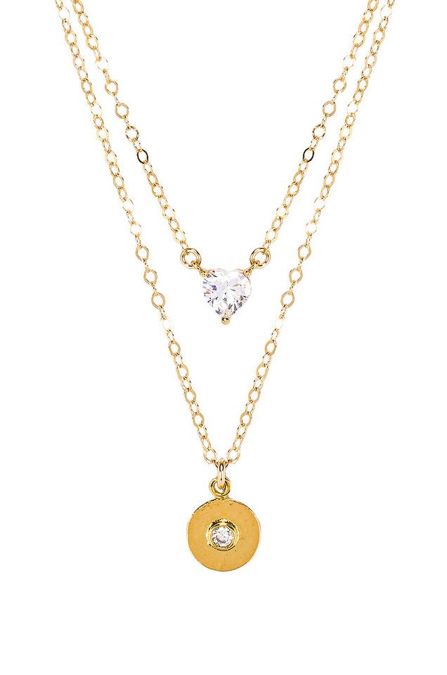 Paradigm X REVOLVE Double Mon Coeur Romeo Coin Necklace in gold / metallic
