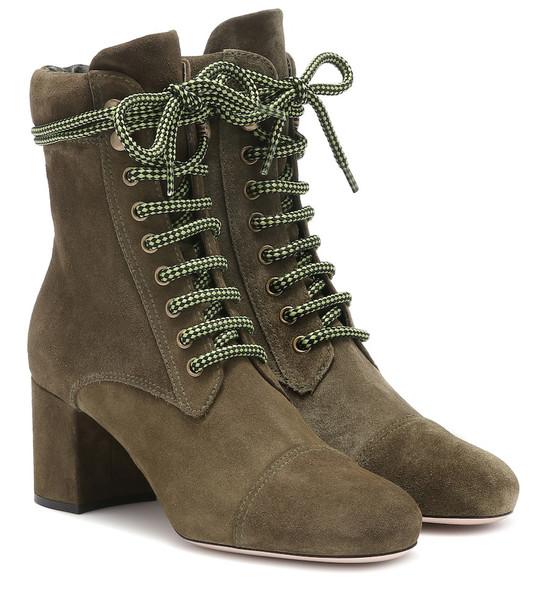 Miu Miu Suede ankle boots in green