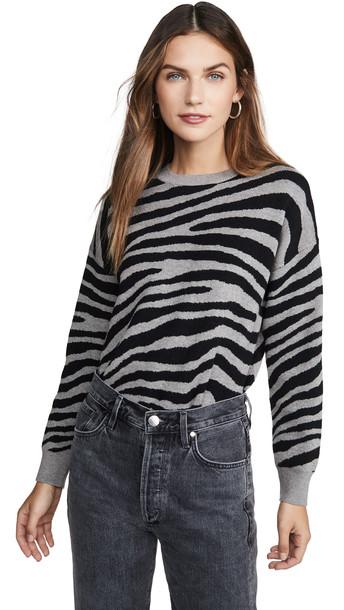 J.O.A. J.O.A. Zebra Stripe Sweater in grey / multi