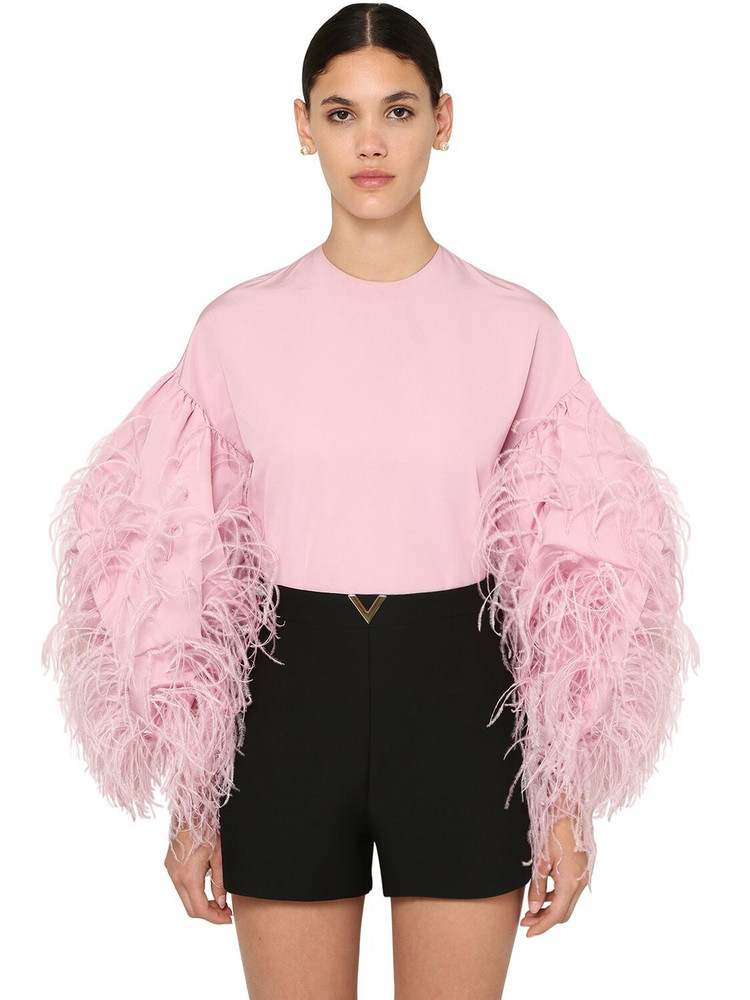 VALENTINO Micro Faille Shirt W/feathers in pink