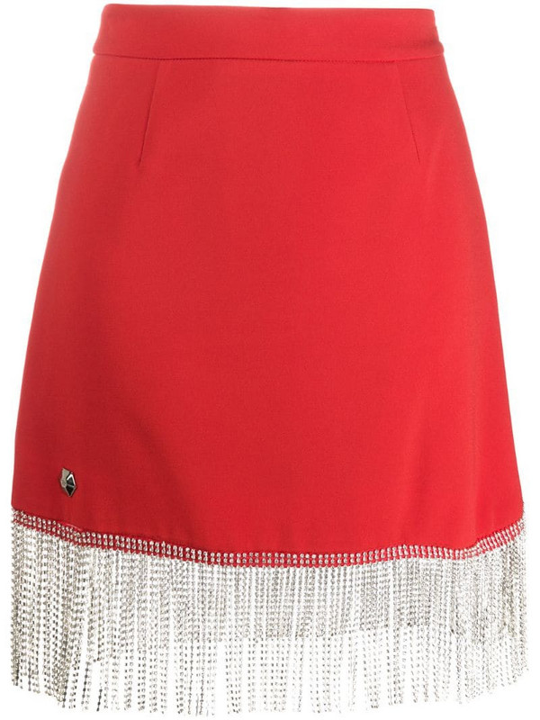 Philipp Plein embellished tassel skirt in red