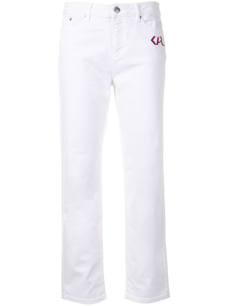 Karl Lagerfeld logo-print slim-fit jeans in white