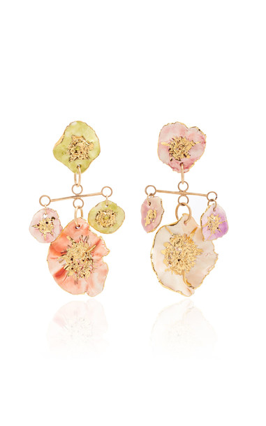 Sonia Boyajian 4 Pansy Drop Earrings in multi