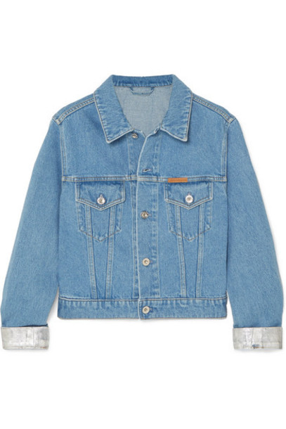 Paco Rabanne - Cropped Two-tone Denim Jacket - Blue