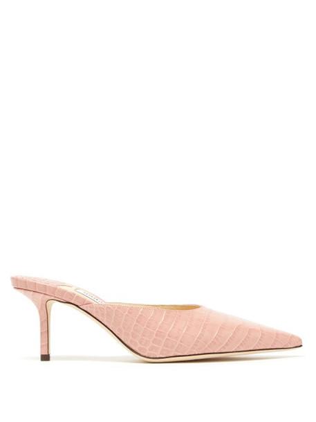 Jimmy Choo - Rav 65 Crocodile Effect Leather Mules - Womens - Light Pink