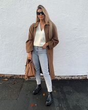 jeans,cropped jeans,black boots,long coat,white sweater,v neck,bag