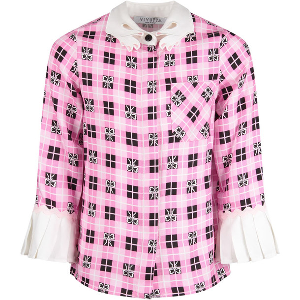 Vivetta Pink Girl Shirt With White All-over Bows