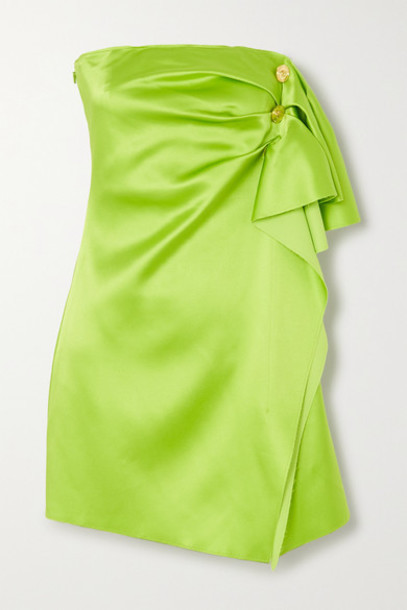 Versace - Button-embellished Strapless Draped Satin Mini Dress - Green