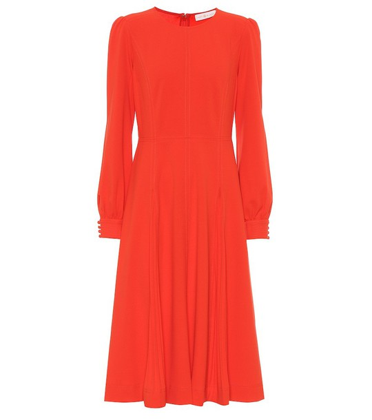 Tory Burch Pleated stretch-crêpe dress in red
