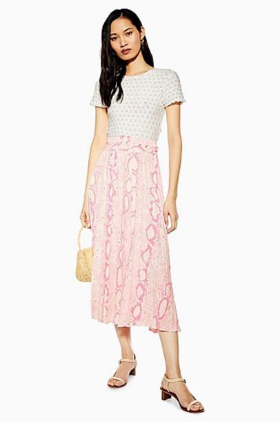 Topshop Pink Snake Pleat Midi Skirt - Pink