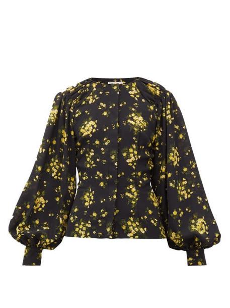 Emilia Wickstead - Margot Floral-print Georgette Blouse - Womens - Black Yellow