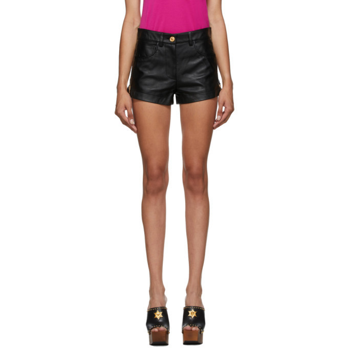 Versace Black Leather Shorts in nero