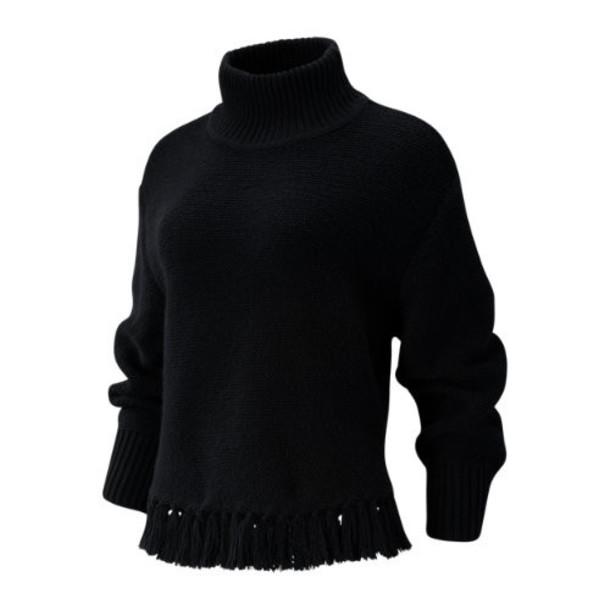 New Balance 93471 Women's Balance Fringe Sweater - Black (WT93471BK)