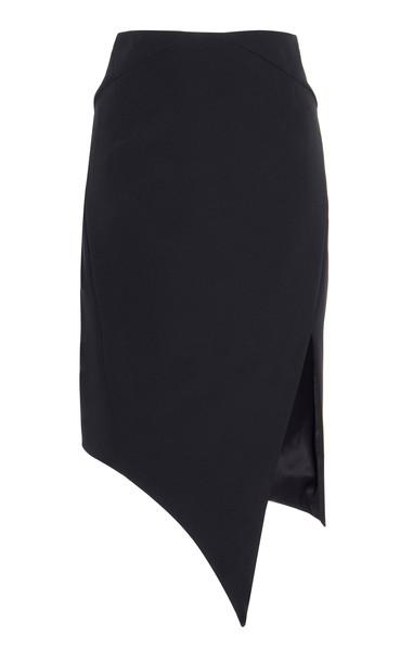 Monot Asymmetric Stretch Crepe Skirt in black