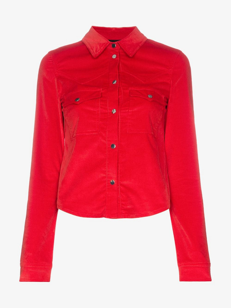 Filles A Papa Edwin Western Buttoned Cotton-Blend Shirt in red