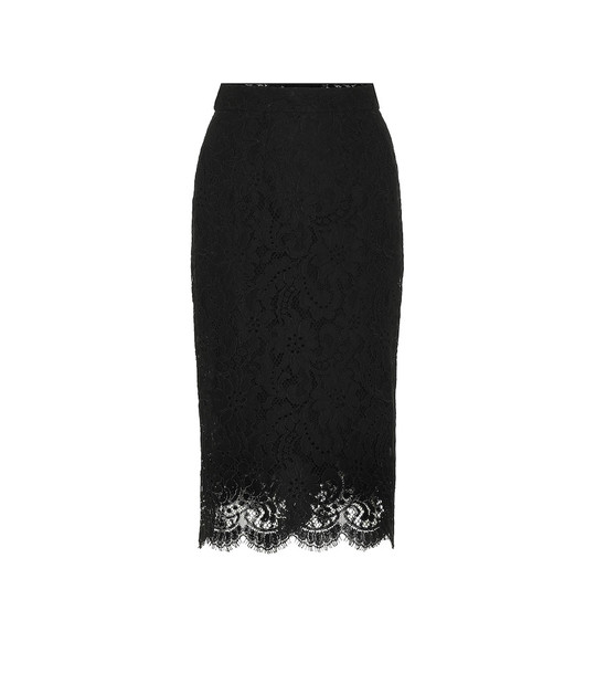 Dolce & Gabbana Scalloped lace pencil skirt in black
