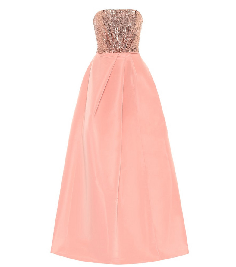 Monique Lhuillier Sequin and silk faille gown in pink
