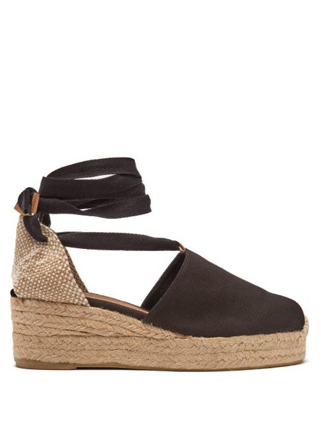 Castañer - Campesina 30 Canvas & Jute Espadrille Wedges - Womens - Black