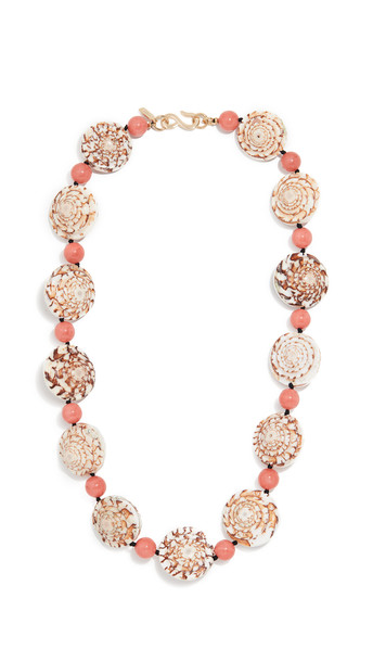 Kenneth Jay Lane Seashell Necklace in coral