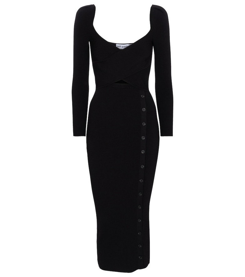 Self-Portrait Exclusive to Mytheresa – Ribbed-knit midi dress in black
