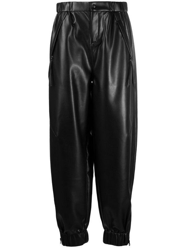 Aeron tapered faux leather trousers in black