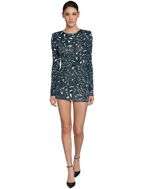 ALEXANDRE VAUTHIER Printed Crewneck Jersey Mini Dress