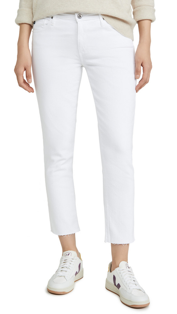 AG The Prima Crop Raw Hem Jeans in white