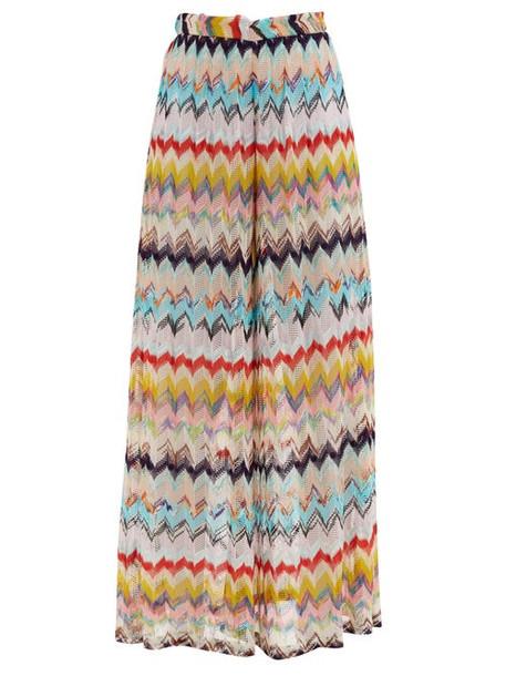Missoni - Chevron-stripe Wide-leg Eyelet-knitted Trousers - Womens - Multi