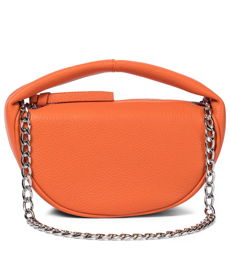 By Far Baby Cush leather tote in orange